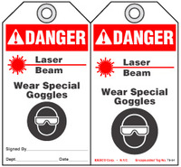 Warning Tag - Danger, Laser Beam, Wear Special Goggles (Ansi)
