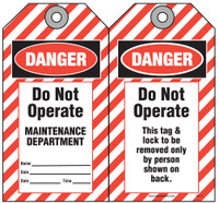 Lockout Safety Tag - Danger, Do Not Operate, Maintenance Department, (ANSI Header)