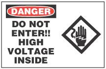 Danger Sign Do Not Enter High Voltage Inside With Symbol
